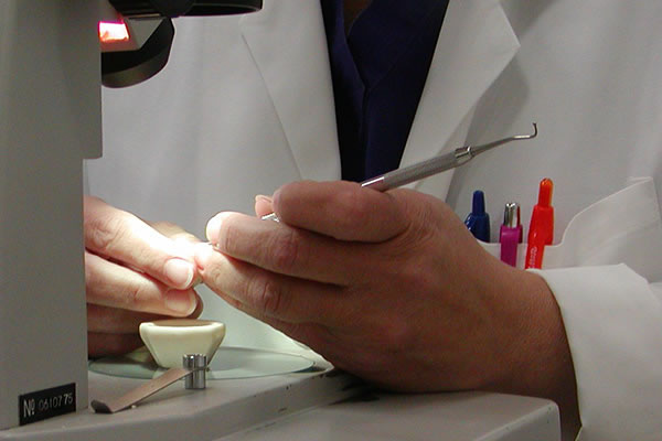 Lab technician working on a sample