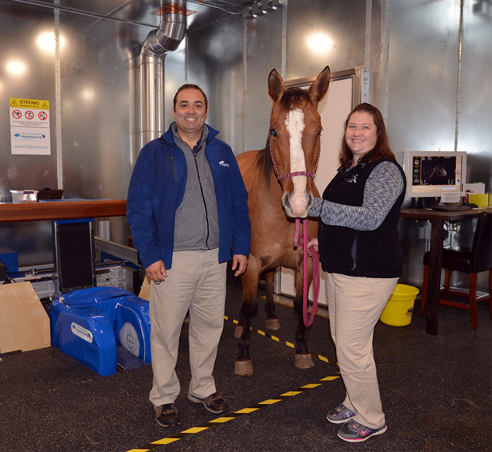 Dr. Nicolas Ernst with animal care supervisor Sue Loly and the new standing MRI unit at the Leatherdale Equine Center.
