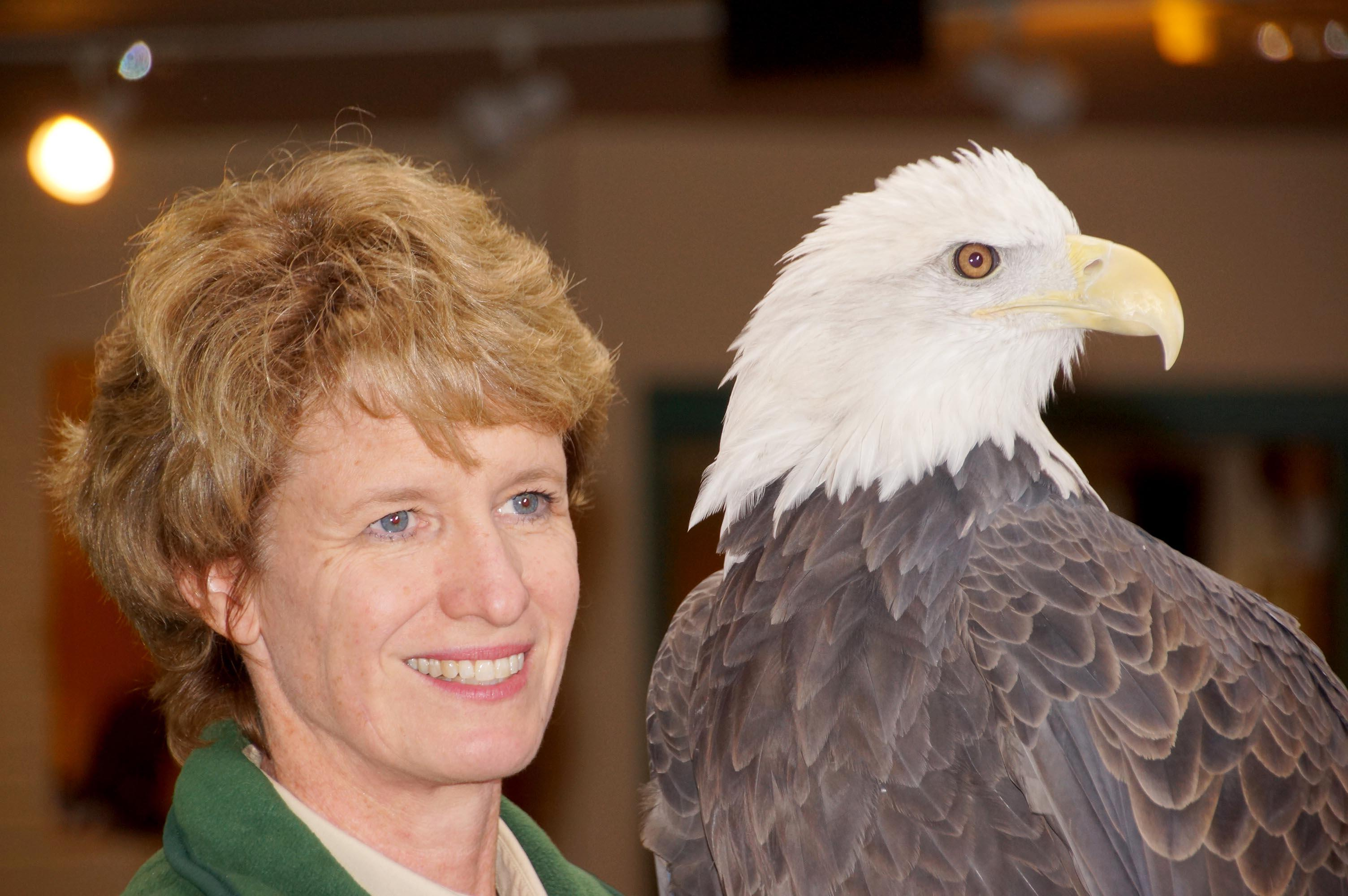 Julia Ponder with an eagle