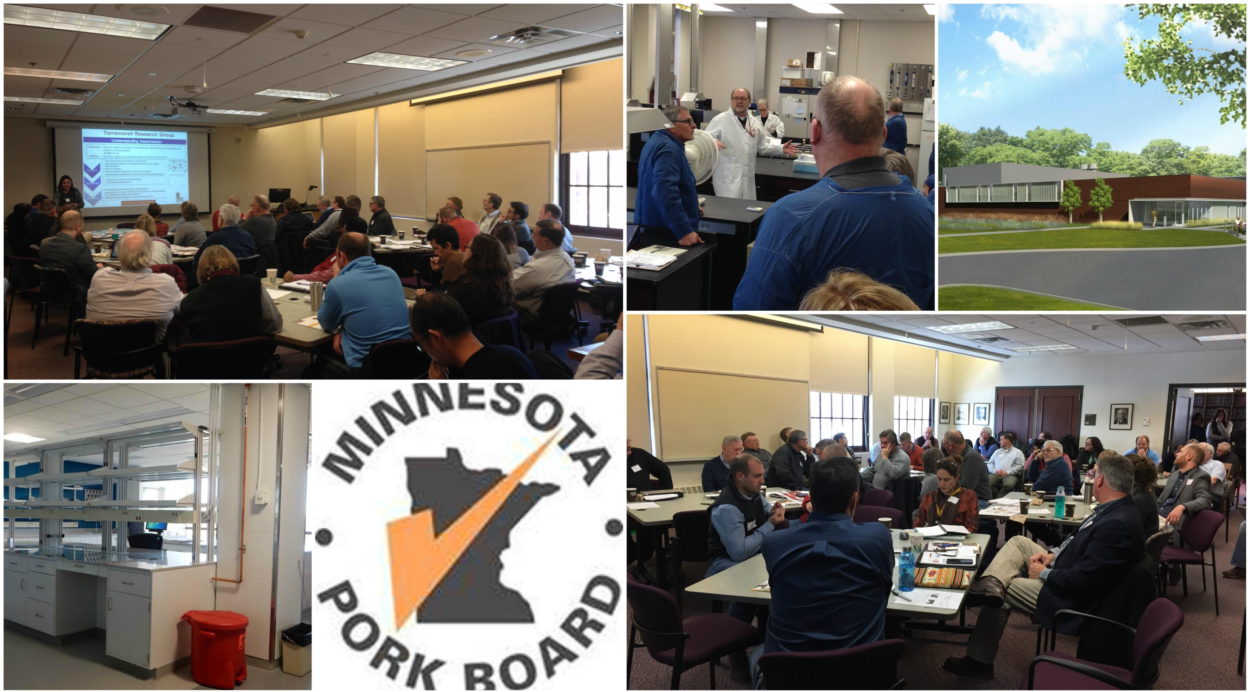Collage of pcitures from the meeting between Minnesota pork board members and researchers at the U of MN