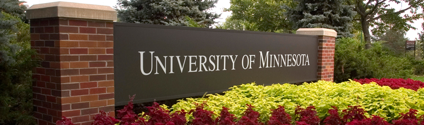University of Minnesota sign with flowers