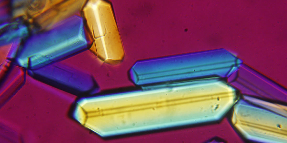 Magnified view of crystals